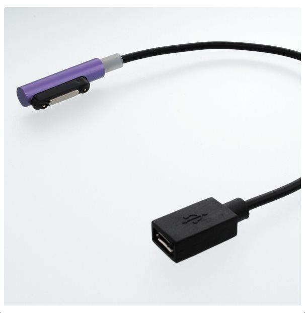 Redukce Micro USB na magnetický konektor pro nabíjení Sony Xperia Z1, Z1 Compact, Z2 a Z Ultra, Z3 a Z3 Compact, Viole
