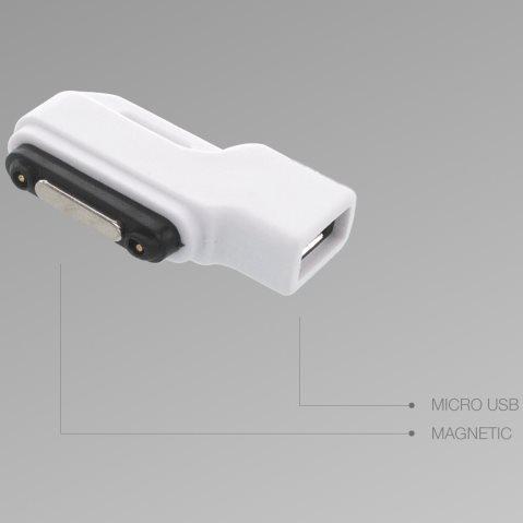 Redukce Micro USB na magnetický konektor pro nabíjení Sony Xperia Z1, Z1 Compact, Z2 a Z Ultra, Z3 a Z3 Compact, White