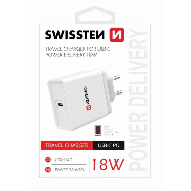 Rychlonabíječka Swissten pro iPhone s výkonem 18W a 1 USB-C konektorem, bílá