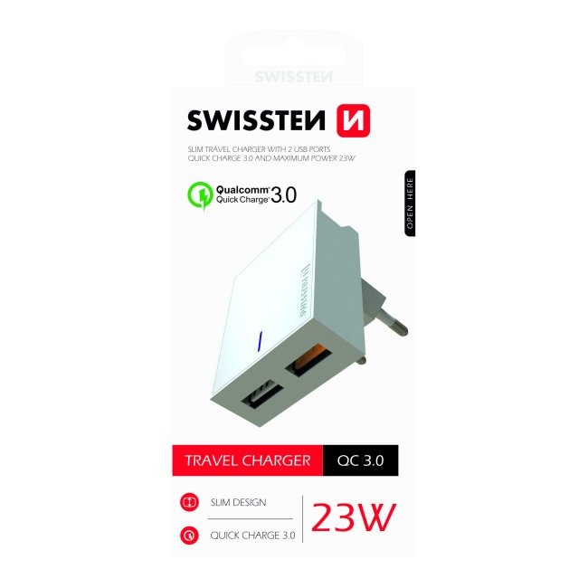 Rychlonabíječka Swissten Qualcomm Charger 3.0 s 2 USB konektory, 23W, bílá