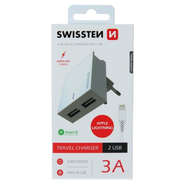 Rychlonabíječka Swissten Smart IC 3.A s 2 USB konektory + datový kabel USB/Lightning 1,2 m, bílá