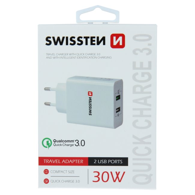 Rychlonabíječka Swissten Smart IC 30W s podporou QuickCharge 3.0 a 2 USB konektory, bílá