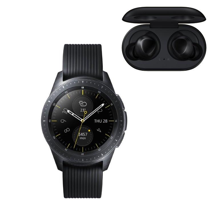 Samsung Galaxy Watch, Black + Samsung Galaxy Buds, Black