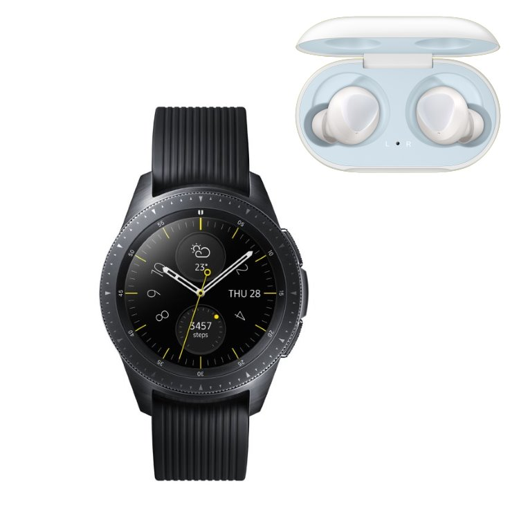 Samsung Galaxy Watch, Black + Samsung Galaxy Buds, White