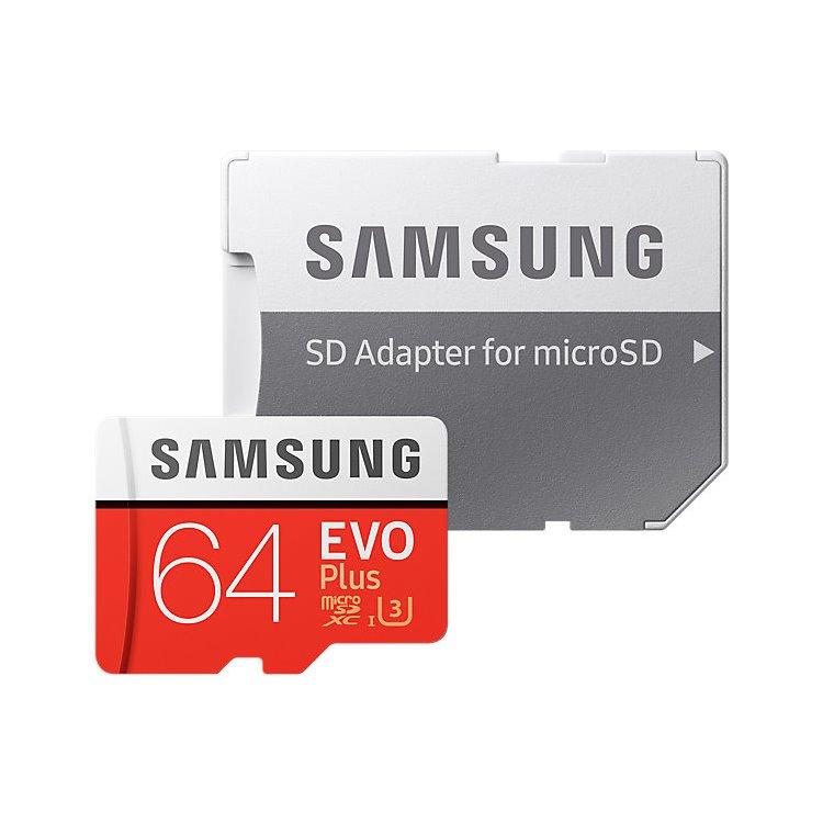 Samsung Micro SDXC EVO Plus 64GB (2017) + SD adaptér, UHS-I U3, Class 10-rychlost 100/60 MB/s (MB-MC