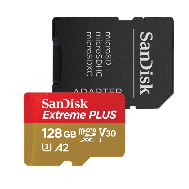 SanDisk Micro SDXC Extreme Plus 128GB + SD adaptér, UHS-I U3 A2, Class 10-rychlost 170/90 MB/s (SDSQXBZ-128G-GN6MA)