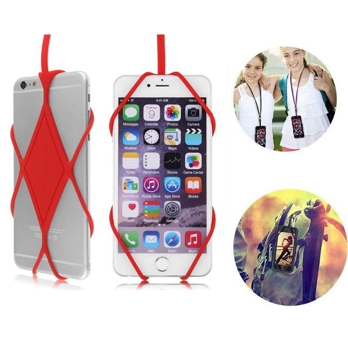 Silikonový náhrdelník/poutko na zápěstí BestHolder pro Váš smartphone, Red