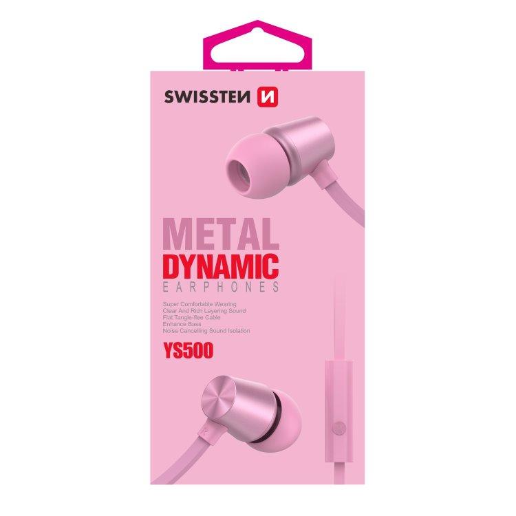 Sluchátka Swissten Dynamic YS500, růžové