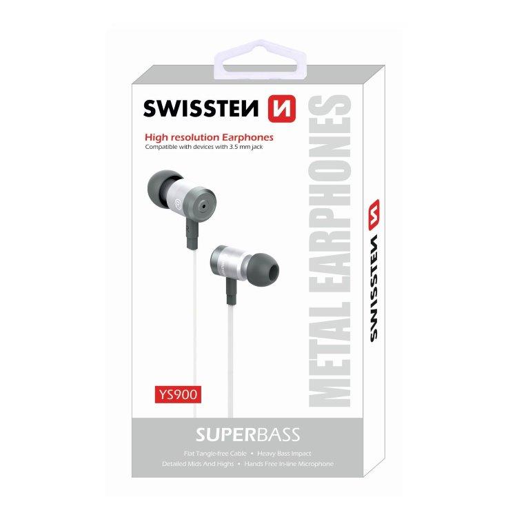 Sluchátka Swissten SuperBass YS900, stříbrno-bílé