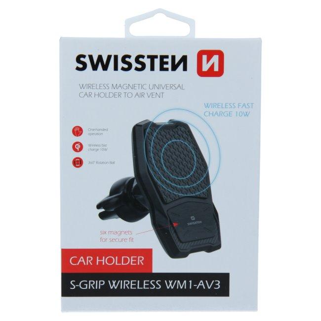 Swissten magnetický držák do auta S-Grip WM1-AV3 s bezdrátovým nabíjením