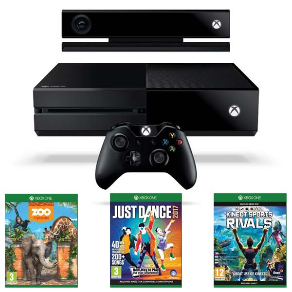 Xbox One 500GB + Kinect + Zoo Tycoon + Kinect Sports Rivals CZ + Just Dance 2017