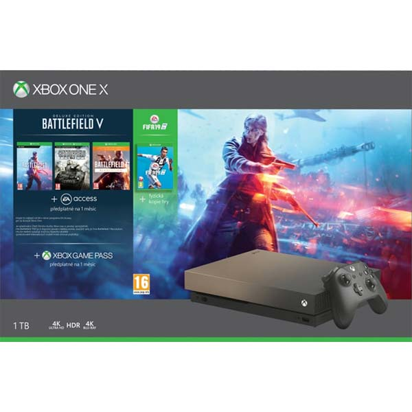 Xbox One X 1TB + Battlefield 5 Deluxe Edition + Battlefield 1: Revolution + Battlefield: 1943 + FIFA 19 CZ