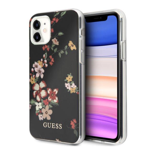 Zadní kryt Guess Flower Shiny N.4 pro iPhone 11, černý