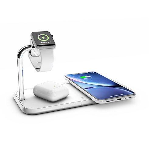 Zens Aluminium Dual Wireless Charger + Watch 10W-White