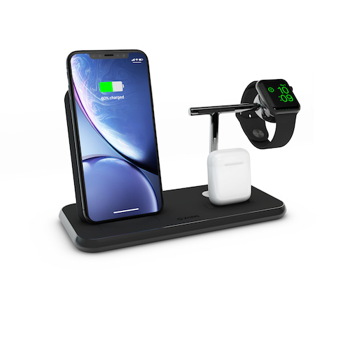 Zens Stand + Dock + Watch Aluminium WirelessCharger-Black