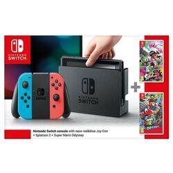 Nintendo Switch, grey + Splatoon 2 + Super Mario Odyssey