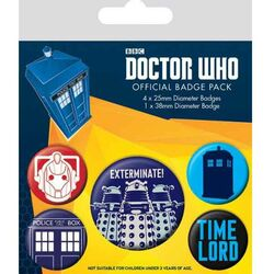 Odznaky Doctor Who Exterminate (5-Pack)