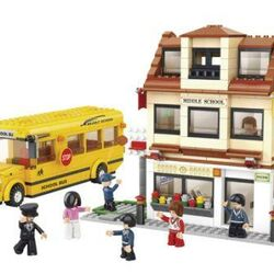 Stavebnice-Town-Školní autobus a škola